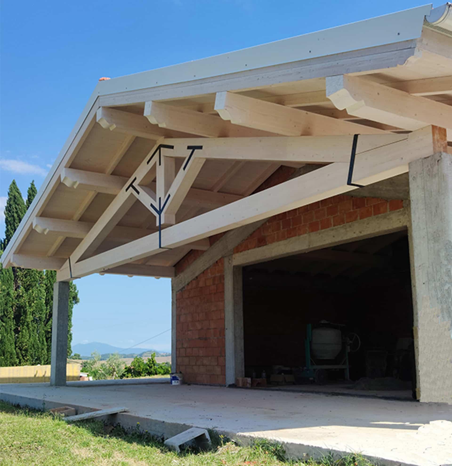 copertura legno lamellare piallato podere peccioli